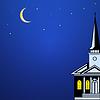 Weihnachten Landschaft mit Kirchturm, Mond und
