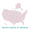 USA-Karte quadratischen Pixeln, weißen Hintergrund