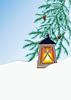 Wintertanne und Taschenlampe