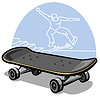 Векторный клипарт: Кататься на скейтборде