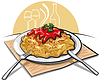 Векторный клипарт: спагетти с соусом
