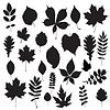 Векторный клипарт: Сбор листьев - силуэт