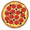 Векторный клипарт: Итальянская пицца с пепперони ломтиками