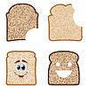 Векторный клипарт: Коллекция белых и коричневых ломтиков хлеба
