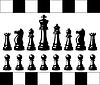 Set aus schwarzen und weißen Schachfiguren