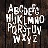 Von Hand gezeichnet Alphabet auf Holz Textur