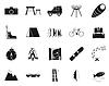 Urlaub, Sport & Travel, schwarz und weiß-Symbol