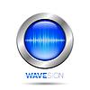 Векторный клипарт: Серебряная кнопка с звуковой волны знак