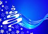 Векторный клипарт: Рождественская открытка с деревом и снежинок эскиза