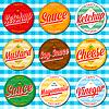 ID 4593889 | Set von Ketchup, Essig, Senf, Soja, Käse und | Stock Vektorgrafik | CLIPARTO