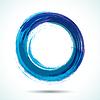 Blau Pinsel bemalt Aquarell Kreis