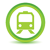 绿皮火车图标 | 向量插图