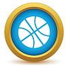 Векторный клипарт: Золото значок баскетбол