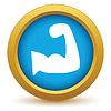 Векторный клипарт: Золото значок мускулы