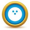 Векторный клипарт: Золото значок боулинг