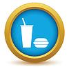 Векторный клипарт: Золото бургер со значком напитков