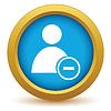 Векторный клипарт: Золото значок Удалить пользователя