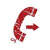 Red Grunge ausgehenden Anruf logo