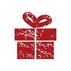 Red Grunge Geschenk logo