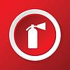 Feuerlöscher-Symbol auf rot