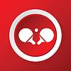 Ping-Pong-Schläger-Symbol auf rot
