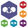 Tischtennisschläger Sechs icon set