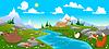 Gebirgslandschaft mit Fluss und Tiere