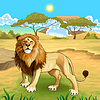 Afrikanische Landschaft mit König der Löwen