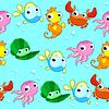 Lustige Seetiere mit Hintergrund