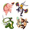 Schwein, Kaninchen, Schlangen und Affen