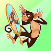 Funny monkey reflektiert sich im Spiegel