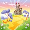 Mythologische Landschaft mit mittelalterlichen Burg