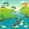 Landschaft mit Fluss und lustige Fische