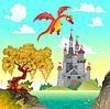 Fantasielandschaft mit Burg und Drachen