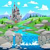 Gebirgslandschaft mit Fluss und die Burg