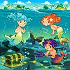Seelandschaft mit Meerjungfrauen und triton