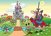 Panorama mit mittelalterlichen Burg und Ritter
