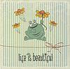 Векторный клипарт: Ретро со счастливым лягушки и фраз Жизнь прекрасна