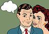 Векторный клипарт: Мужчина и женщина любовь пара в поп-стиле арт-комиксов