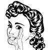 Векторный клипарт: поп-арт милый ретро женщина в комиксах стиле