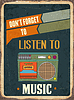 Retro Blechschild Hören Musik