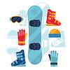 Snowboard-Ausrüstung Symbole in flachen Design-Stil Set
