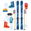 Ski-Ausrüstung Symbole in flachen Design-Stil Set