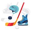 Hockey-Ausrüstung Symbole in flachen Design-Stil Set