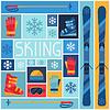Sport-Hintergrund mit Ski-Ausrüstung Flach Symbole