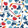 Sport nahtlose Muster mit Hockey-Ausrüstung Flach