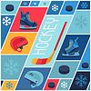 Sport-Hintergrund mit Hockey-Ausrüstung Flach Symbole