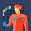 Mann in Hockey-Ausrüstung steht mit Stick