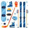 Wintersportgeräte-Icons im Flat-Design Set