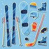 Wintersportausrüstung Aufkleber Symbole in Flach eingestellt